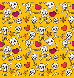 Pattern with skulls and hearts bones seamless vector
