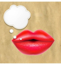 Red Lips With Speech Bubble With Retro Paper vector image
