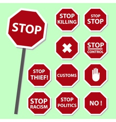 Red stop road sign set as banners eps10 vector