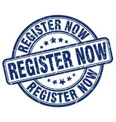 Register now blue grunge stamp vector