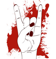 rock hand gesture with red paint stains on white vector image