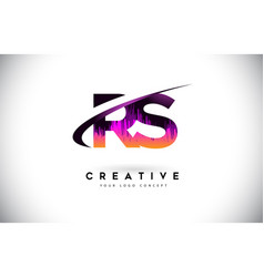 Rs r s grunge letter logo with purple vibrant vector