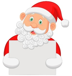 Santa cartoon holding blank sign vector image