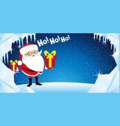 Santa claus with gift boxes in hands vector