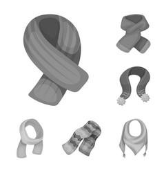 Scarf and shawl monochrome icons in set collection vector