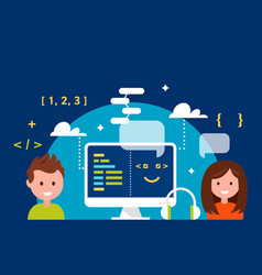 school children learning coding in science vector image