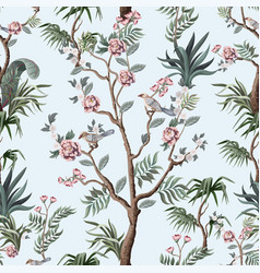 seamless pattern in chinoiserie style with peonies vector image