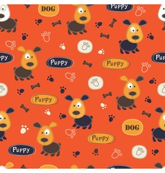 Seamless pattern with cute dog vector image