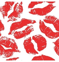 Seamless pattern with lipstick kisses vector image