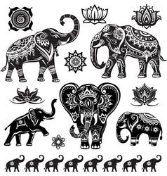 Set decorated elephants vector