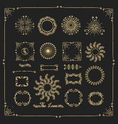 set decorative elements border frame vector image