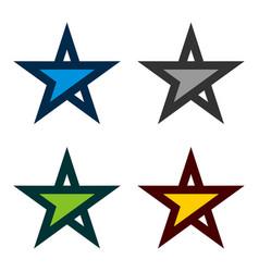 set forward arrow star logo template vector image