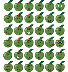 Set of green apple character emojis vector