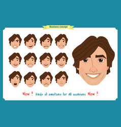 set of male facial emotions man emoji vector image