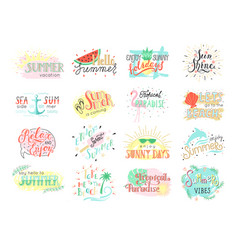 set of summer hand drawn labels logos or card vector image