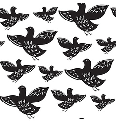 Silhouette of black ethnic birds vector image