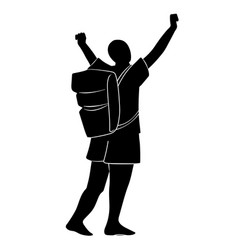 silhouette tourist with backpack with raised up vector image