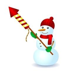 Snowman firework hat scarf winter fun vector image