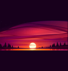 sunset on lake red sky with sun go down pond vector image