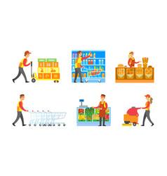 Supermarket store departments workers set vector