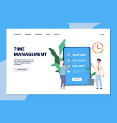 time management landing page woman and business vector image