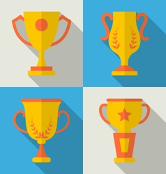 Trophy Flat Icons Set of Success Award vector image