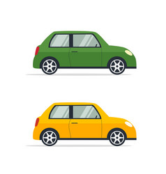 two bright colored cars in flat style vector image