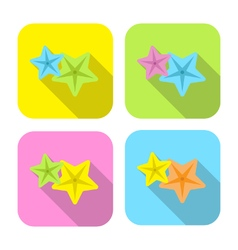 Two colorful starfish flat icon with long shadow vector