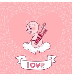 Valentines Day card with a cute Cupid vector