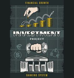 Vintage colored investment poster vector