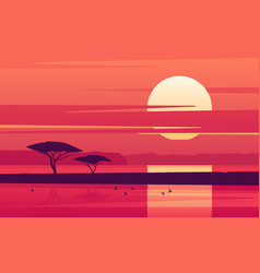 Vivid sunset over african lake vector