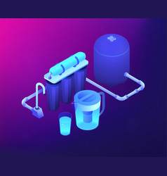 Water filtering system concept isometric vector