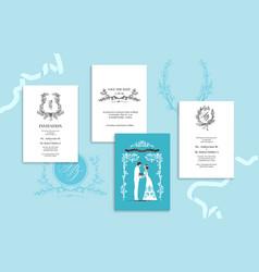 wedding stationery blue vector image