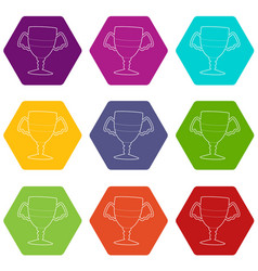 winner cup icons set 9 vector image