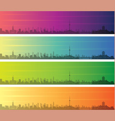 Wuhan multiple color gradient skyline banner vector
