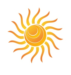 Yellow Shiny Sun Icon vector image