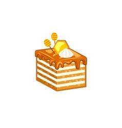 Honey cake isolated on white background vector image vector image