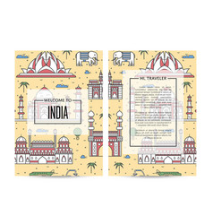 india traveling banners set in linear style vector image