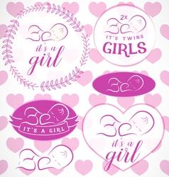 Pink Baby Girl Badge Set vector image vector image