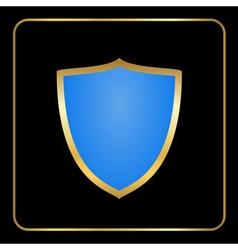 Shield gold icon black vector
