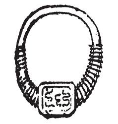 Signet ring vintage engraving vector