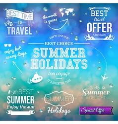 Summer design on blurred background Set of vector image