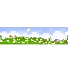 summer landscape panorama vector image vector image