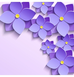 Background with purple summer flowers violets vector image vector image