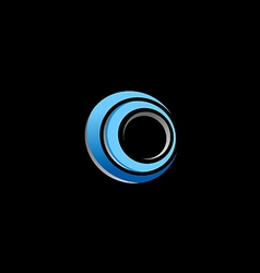 circle blue round technology logo vector image vector image
