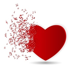Happy Valentines Day Card with Heart Music Notes vector image vector image