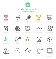 Set of Bold Stroke SEO and Development icons Set 2 vector image vector image