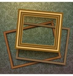 Vintage golden frames on floral background vector image
