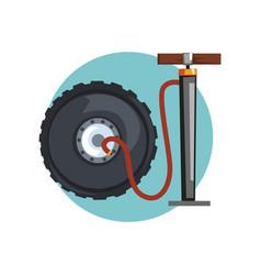 wheel repair icon car wheel and air pump cartoon vector image