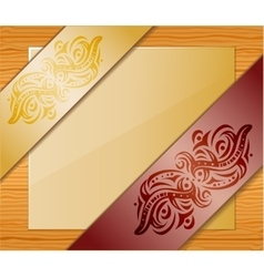 Wood background with ribbons and paper vector image vector image